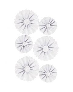 Coccarde in carta, diam: 35+50 mm, bianco glitter, 6 pz/ 1 conf.