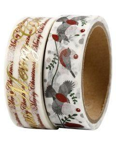 Washi Tape, glædelig jul e uccellini - lamina, L: 15 mm, 2x4 m/ 1 conf.