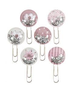 Shaker clips, L: 49 mm, diam: 25 mm, beige, marrone, rosato, bianco, 6 pz/ 1 conf.