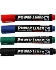 Power Liner, nero, blu, verde, rosso, 4 pz/ 1 conf.