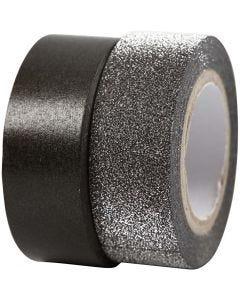 Nastro adesivo decorato, L: 15 mm, nero, 2 rot./ 1 conf.