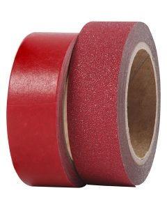 Nastro adesivo decorato, L: 15 mm, rosso, 2 rot./ 1 conf.