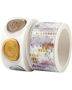 Washi Tape , L: 3+5 m, L: 20+25 mm, 2 rot./ 1 conf.