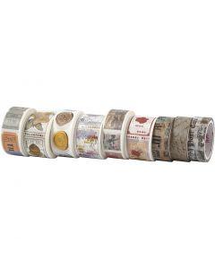 Washi Tape , L: 3+5 m, L: 15+25 mm, 9 rot./ 1 conf.
