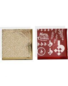 Pellicola decorativa e foglio trasferibile, cuori intrecciati, 15x15 cm, oro, rosso, bianco, 4 fgl./ 1 conf.