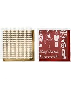 Pellicola decorativa e foglio trasferibile, schiaccianoci, Babbo Natale e ballerina, 15x15 cm, oro, rosso, bianco, 4 fgl./ 1 conf.
