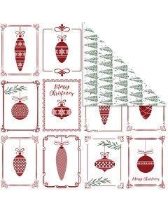 Carta fantasia, sfere natalizie e alberi di Natale, 30,5x30,5 cm, 180 g, 5 fgl./ 1 conf.