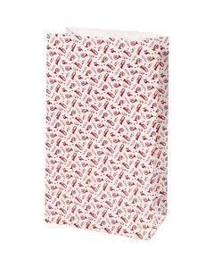 Buste carta, tromba, H: 21 cm, misura 6x12 cm, 80 g, rosso, bianco, 8 pz/ 1 conf.
