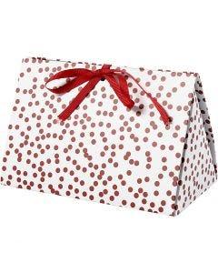 Scatola regalo pieghevole, pois, misura 15x7x8 cm, 250 g, rosso, 3 pz/ 1 conf.