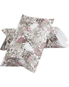 Scatola regalo pieghevole, fiori, misura 23,9x15x6 cm, 300 g, beige, marrone, rosato, bianco, 3 pz/ 1 conf.