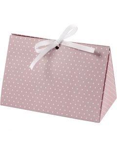 Scatola regalo pieghevole, pois, misura 15x7x8 cm, 250 g, rosato, bianco, 3 pz/ 1 conf.