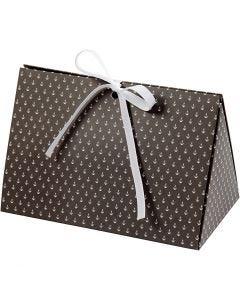 Scatola regalo pieghevole, ancora, misura 15x7x8 cm, 250 g, grigio scuro, bianco, 3 pz/ 1 conf.