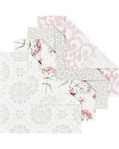Carta origami, misura 10x10 cm, 80 g, verde, grigio, rosso chiaro, bianco, 40 fgl./ 1 conf.