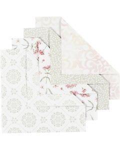 Carta origami, misura 15x15 cm, 80 g, verde, grigio, rosso chiaro, bianco, 40 fgl./ 1 conf.
