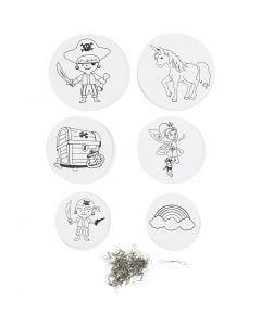 Decorazioni mobili con motivi, diam: 12+15+18 cm, 300 g, bianco, 20 set/ 1 conf.