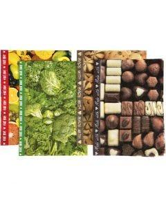 Carta per decoupage, 25x35 cm, 17 g, marrone, verde, giallo, 8 fgl. asst./ 1 conf.