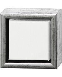 Tela ArtistLine con cornice, misura 14x14 cm, argento antico, bianco, 1 pz