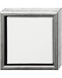 Tela ArtistLine con cornice, misura 19x19 cm, argento antico, bianco, 1 pz