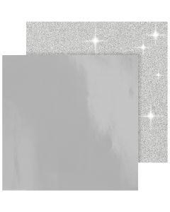 Carta fantasia, 30,5x30,5 cm, 120+128 g, argento, 2 fgl./ 1 conf.