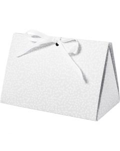Scatola regalo pieghevole, pois, misura 15x7x8 cm, 250 g, grigio, 3 pz/ 1 conf.
