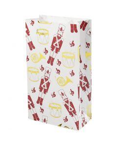 Buste carta, schiaccianoci, H: 21 cm, misura 6x12 cm, oro, rosso, bianco, 8 pz/ 1 conf.