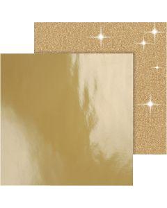 Carta fantasia, 30,5x30,5 cm, 120+128 g, oro, 2 fgl./ 1 conf.