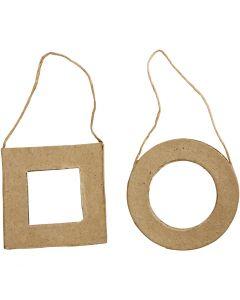 Cornici, quadrato e rotondo, misura 7 cm, 6 pz/ 1 conf.