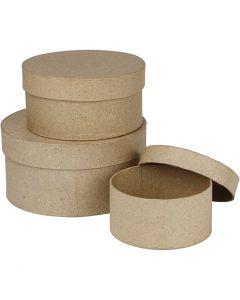 Scatole rotonde, H: 5+6,5+7,5 cm, diam: 10+13+16 cm, 3 pz/ 1 set