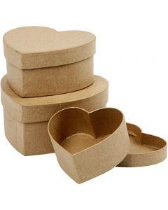 Scatole cuore, H: 5+6,5+7,5 cm, diam: 10+12,5+15 cm, 3 pz/ 1 set