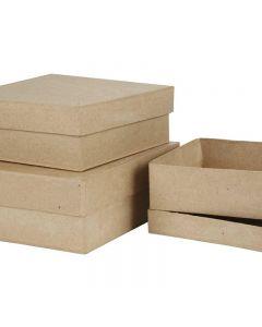 Scatole quadrate, H: 5+6+7,5 cm, misura 16+18+20 cm, 3 pz/ 1 set