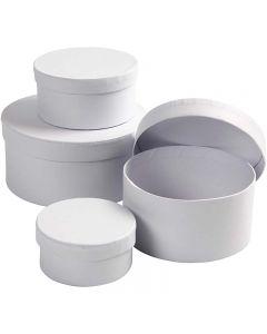 Scatole rotonde, H: 4+5+6+7 cm, diam: 8+10+12+14 cm, bianco, 4 pz/ 1 set