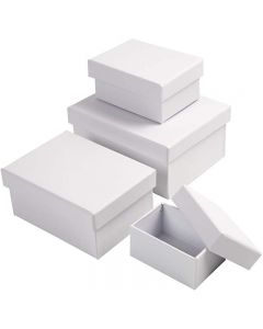 Scatole rettangolari, H: 3,5+4,5+5,5+6,5 cm, misura 8,5x11,5+11x14 cm, bianco, 4 pz/ 1 set