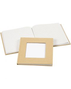 Quaderno, misura 14x14 cm, 60 g, marrone, 1 pz