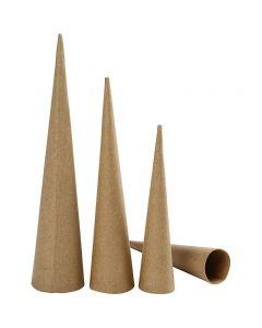 Coni alti, H: 20-25-30 cm, diam: 4-5-6 cm, 3 pz/ 1 conf.