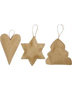 Decorazioni di Natale, cuore, stella, albero di Natale, misura 8-9 cm, 9 pz/ 1 conf.