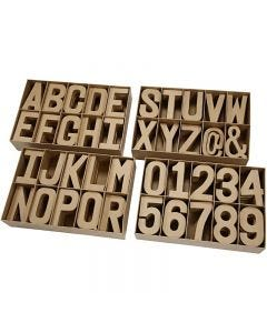 Lettere, numeri e simboli in cartapesta, H: 20,50 cm, spess. 2,5 cm, 160 pz/ 1 conf.