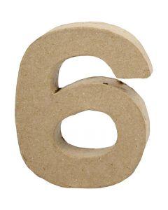 Numero, 6, H: 10 cm, L: 8,2 cm, spess. 1,7 cm, 1 pz