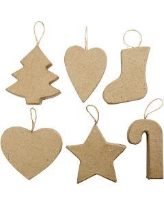Decorazioni di Natale, H: 7+8 cm, 6 pz/ 1 conf.