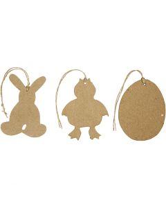 Decorazioni di Pasqua da appendere, coniglio, gallina, uova, H: 10 cm, 6 pz/ 1 conf.