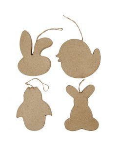 Decorazioni di Pasqua da appendere, testa di coniglio, pulcino, pulcino nell'uovo e coniglietto, H: 10 cm, 4 pz/ 1 conf.