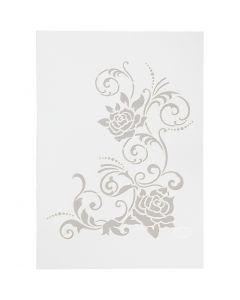 Stencil , fiori, A4, 210x297 mm, 1 pz
