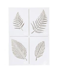 Stencil , foglie, A4, 210x297 mm, 1 pz