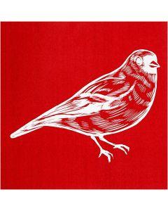 Scheda stencil, uccello, 20x22 cm, 1 fgl.