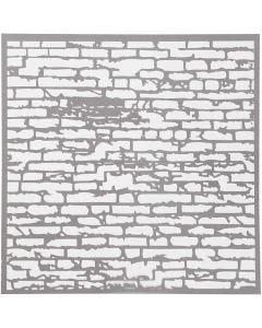 Stencil, muro di mattoni, misura 30,5x30,5 cm, spess. 0,31 mm, 1 fgl.