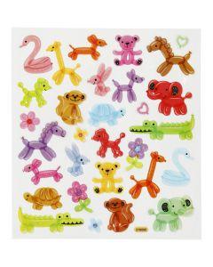 Stickers glitter decorati, animali palloncino, 15x16,5 cm, 1 fgl.