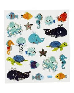 Stickers, animali del mare, 15x16,5 cm, 1 fgl.