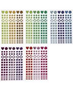 Stickers mosaico, diam: 8-14 mm, 11x16,5 cm, colori asst., 10 fgl./ 1 conf.