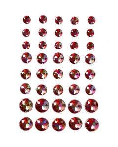 Diamanti sintetici, misura 6+8+10 mm, rosso, 40 pz/ 1 conf.