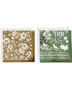 Deco Foil e fogli trasferibili, fiori, 15x15 cm, oro, verde, 2x2 fgl./ 1 conf.