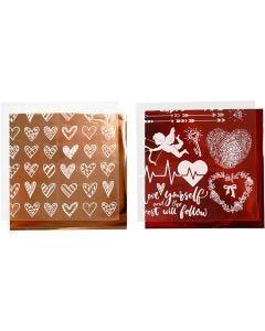 Deco Foil e fogli trasferibili, cuori e love, 15x15 cm, rosso, 2x2 fgl./ 1 conf.
